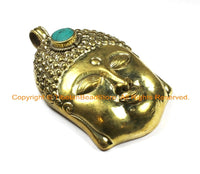 LARGE Buddha Head Tibetan Brass Pendant with Turquoise Accent, Repousse Floral Details - 59mm x 98mm OOAK Statement Tibetan Pendant - WM6362