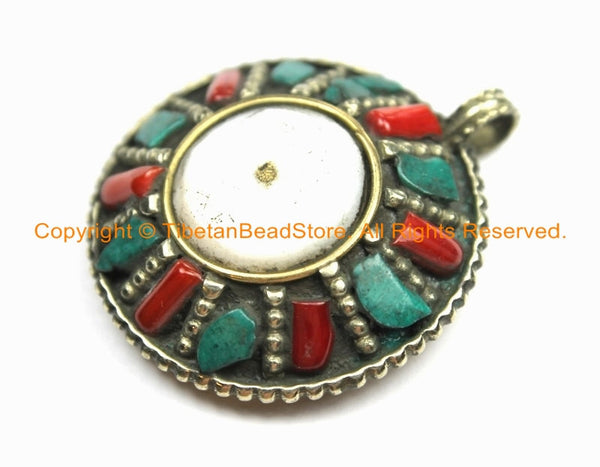 Ethnic Tribal Tibetan Reversible Naga Conch Shell Pendant with Repousse Brass Auspicious Conch Details, Turquoise, Coral Inlays - WM6292
