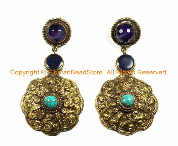 OOAK LARGE Ethnic Tibetan Floral Earrings with Brass, Turquoise, Amethyst & Resin Inlays- Handmade TibetanBeadStore Custom Designs - E14
