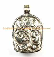 Tibetan Red Buddha Head Pendant with Repousse Floral Details- TibetanBeadStore's Custom Design Buddha Head Pendant- WM6127D