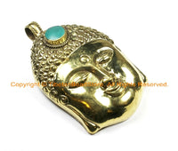 LARGE Buddha Head Tibetan Brass Pendant with Turquoise Accent, Repousse Floral Details 60mm x 98mm OOAK Statement Tibetan Pendant - WM6367
