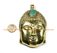 LARGE Buddha Head Tibetan Brass Pendant with Turquoise Accent, Repousse Floral Details - OOAK Statement Tibetan Pendant - WM6369