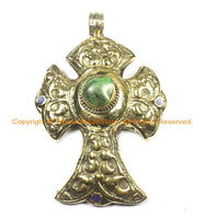 OOAK LARGE Tibetan Brass Cross Pendant with Turquoise Accent, Repousse Floral Details - LARGE Cross Pendant TibetanBeadStore - WM6378
