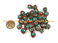 10 BEADS Tibetan Beads-Turquoise Beads Coral Beads Nepalese Beads Tibet Beads Tribal Beads Bohemian Country Beads Nepal Beads- B3032-10 - TibetanBeadStore