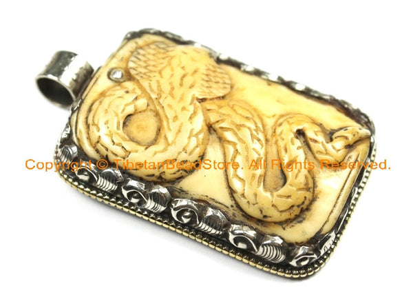 OOAK Tibetan Ethnic Tribal Old Bone Hand Carved Snake Serpent Pendant with Repousse Fish Detail - TibetanBeadStore - WM6433