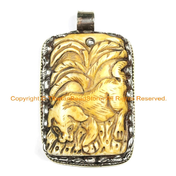 OOAK Tibetan Ethnic Tribal Old Bone Hand Carved Mastiff Dog Pendant with Repousse OM Mantra Floral Details - TibetanBeadStore - WM6432