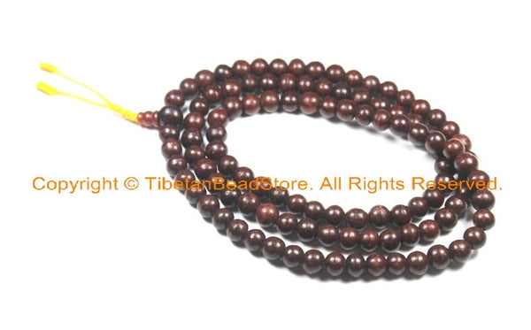 Tibetan 108 Beads Dark Wood Mala Prayer Beads - Buddhist Yoga Meditation Mala Prayer Beads - TibetanBeadStore Mala Supplies - PB158