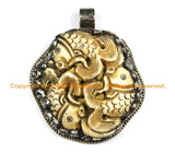 OOAK Tibetan Ethnic Tribal Old Bone Hand Carved 3 Fish Pendant & Repousse Tibetan Silver OM Mantra, Floral Details TibetanBeadStore- WM6422