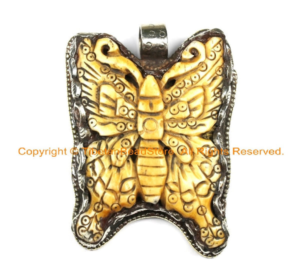 OOAK Tibetan Ethnic Tribal Old Bone Hand Carved Butterfly Pendant & Repousse Tibetan Silver Lotus Floral Details - WM6417