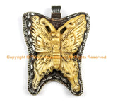 OOAK Tibetan Ethnic Tribal Old Bone Hand Carved Butterfly Pendant & Repousse Tibetan Silver Lotus Floral Details - WM6421