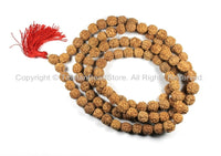 108 BEADS 10mm-11mm Natural Rudraksha Seed Beads - Nepalese Tibetan Rudraksha Seed Prayer Mala Beads - Mala Making Supplies - PB90B - TibetanBeadStore