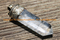 "2.9"" Himalayan Tibetan Luxe Crystal Quartz Point Pendant with Tibetan Silver Cap Large Tibetan Crystal Pendant Jewelry Making Supply- WM6227"