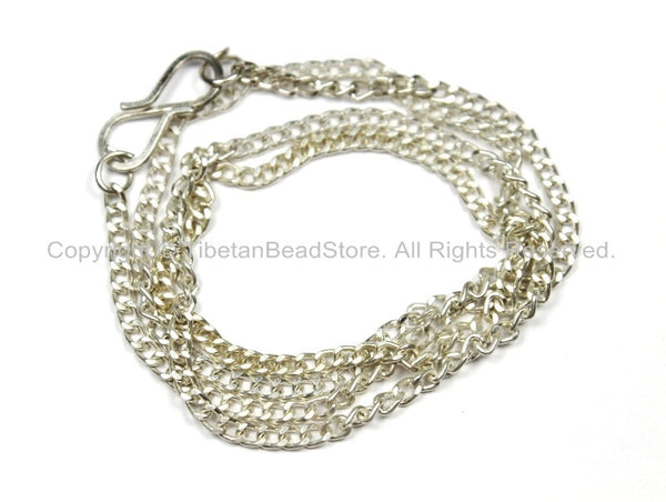 "17 inch Finished Silver Plated Chain 1mm S-Hook Clasp - 17""-17.5"" Silver Plated Chain from Nepal - CN40 - TibetanBeadStore"