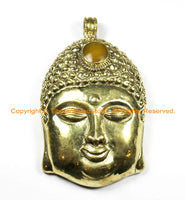 LARGE Buddha Head Tibetan Brass Pendant with Amber Resin Inlay Accent, Repousse Floral Details - OOAK Statement Tibetan Pendant - WM6363