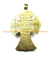 OOAK LARGE Tibetan Brass Cross Pendant with Faceted Quartz Accent, Repousse Floral Details - LARGE Cross Pendant TibetanBeadStore - WM6373