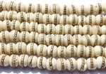 50 beads - Tibetan White Bone Beads with Brass Inlays - Ethnic Tribal Tibetan Bone Beads - LPB72-50