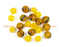2 SETS - Tibetan Amber Resin Guru Bead Set with Turquoise, Coral Inlays - Tibetan Amber Guru Beads - GB37B-2