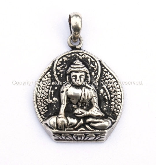 92.5 Sterling Silver Buddha Charm Pendant - Sterling Silver Buddha Pendant - Tibetan Nepalese Silver Jewelry - SS2287