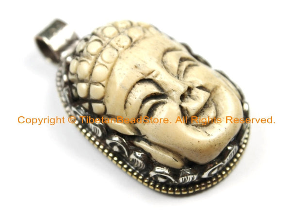 OOAK Tibetan Ethnic Tribal Carved Bone Buddha Pendant with Repousse Fish Detail - Hand Carved Bone Pendant TibetanBeadStore - WM6405