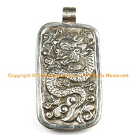 OOAK Tibetan Ethnic Tribal Old Bone Hand Carved Horse Pendant with Repousse Tibetan Silver Dragon Details TibetanBeadStore - WM6435