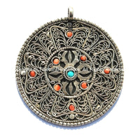 Ethnic Tibetan Filigree Double Vajra Pendant with Colored Bead Inlays - Ethnic Nepal Tibetan Handmade Jewelry - WM4573B