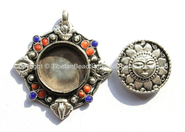 Nepalese sun prayer box pendant with removable front bead inlays nepalese sun prayer box pendant with removable front bead inlays ethnic tibetan ghau amulet aloadofball Image collections