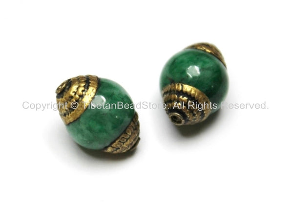 2 BEADS - Tibetan Green Jade Beads with Repousse Brass Caps - Tibetan Beads Ethnic Nepal Tibetan Artisan Handmade Beads - B1820B-2