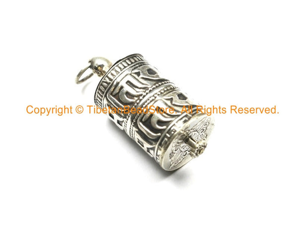 92 5 STERLING SILVER Tibetan Prayer Wheel Pendant with Om Mani Mantra &  Mantra Scroll - Tibetan Prayer Wheel - SS8000