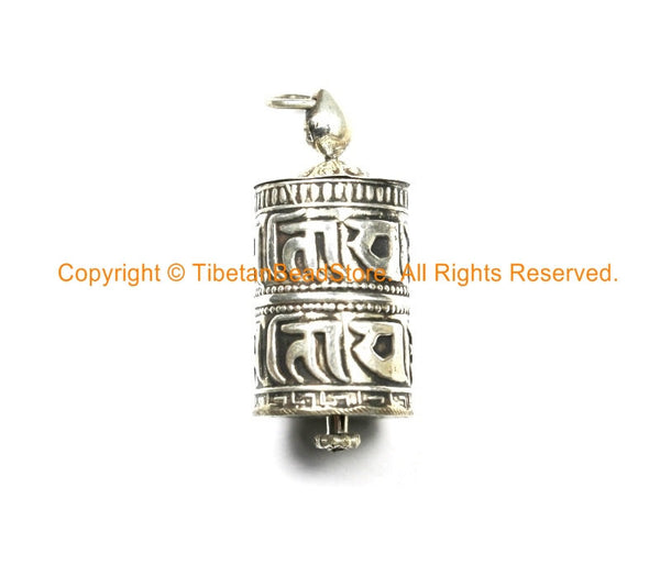 92 5 STERLING SILVER Tibetan Prayer Wheel Pendant with Om