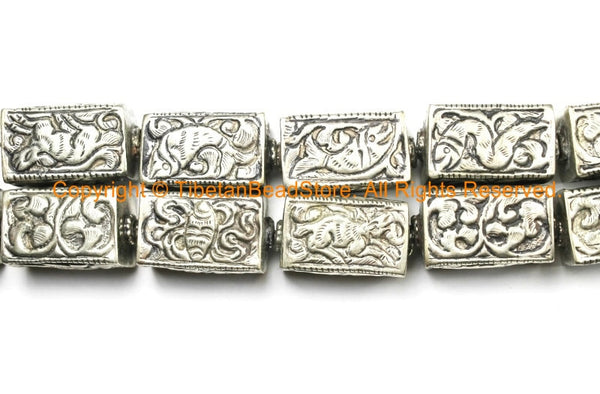 2 BEADS - Repousse Carved Tibetan Silver Rectangular Box Shaped Tibetan Bead with Animal & Floral Details - Tibetan Pendant Beads - B3080-2