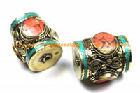 2 BEADS - LARGE Tibetan Brass Barrel Shape Tube Beads with 3-sided Coral Inlays & Turquoise Inlay- Big Ethnic Tibetan Focal Bead- B3104-2