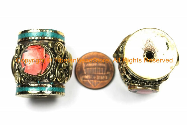 1 BEAD - LARGE Tibetan Brass Barrel Shape Tube Bead with 3-sided Coral Inlays,Turquoise Inlays- Big Ethnic Nepal Tibetan Focal Bead- B3104-1