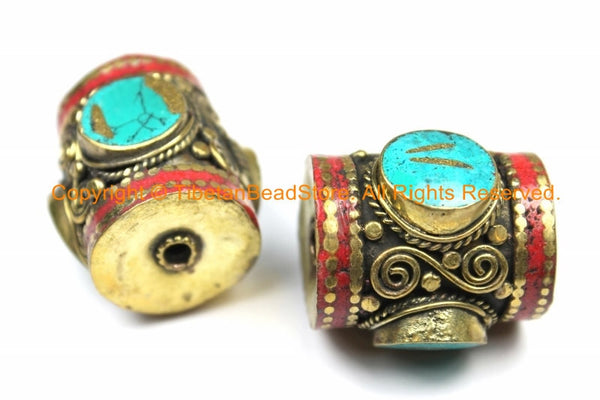 2 BEADS - LARGE Tibetan Brass Barrel Shape Tube Beads with 3-sided Turquoise Inlays & Coral Inlay- Big Ethnic Tibetan Focal Bead- B3105-2