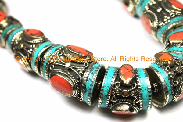 Ethnic Tibetan Nepalese Necklace Jewelry Set Filigree Barrel Beads with Turquoise, Coral Inlays - Nepal Tibetan Beads - B3108