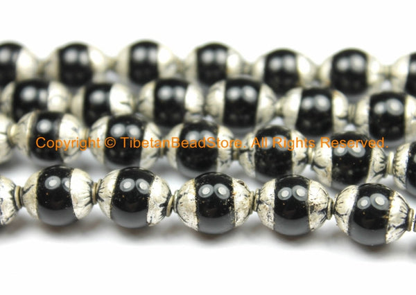 10 BEADS - Small Black Onyx Tibetan Beads with Repousse Real Silver Caps - Handmade Tibetan Beads - B3112-10