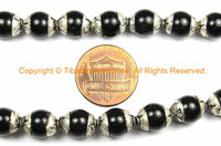 2 BEADS - Small Black Onyx Tibetan Beads with Repousse Real Silver Caps - Handmade Tibetan Beads - B3112-2