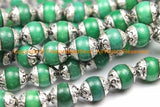 2 BEADS - 10mm Green Jade Tibetan Beads with Repousse Floral Real Silver Caps - Handmade Tibetan Beads - B3115-2 - TibetanBeadStore