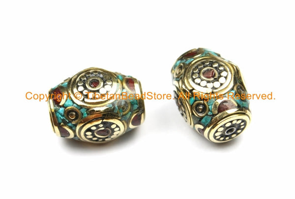 2 BEADS Tibetan Thick Bicone Beads with Intricate Brass, Turquoise & Coral Inlays - Rectangular Bicone Barrel Drum Shape Beads - B3136-2