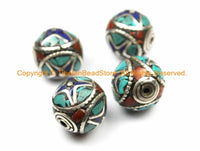 1 BEAD - Tibetan Thick Rondelle Cube Round Bead - Metal, Turquoise, Coral, Lapis Inlay Beads - Ethnic Nepalese Tibetan Beads - B3143-1