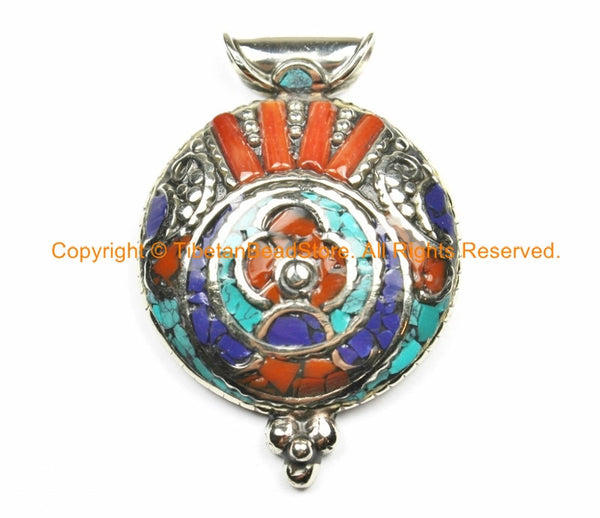 Ethnic Nepal Tibetan Floral Pendant with Turquoise, Lapis & Coral Inlays - Handmade Nepal Tibetan Jewelry by TibetanBeadStore - WM7105
