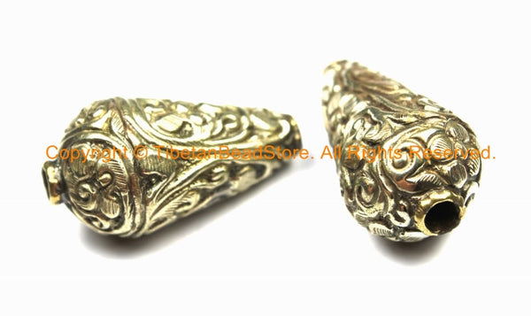 2 BEADS - Big Tibetan Silver Repousse Cone Beads with Floral Details - Ethnic Tibetan Silver Big Large Long Floral Cone Beads - B3117-2