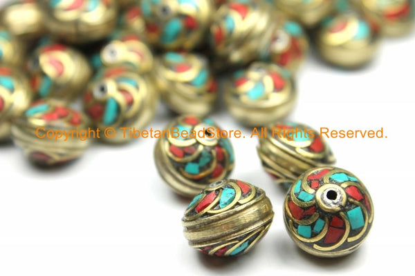 10 BEADS Tibetan Floral Brass Beads with Turquoise, Coral Inlays Roundelle Rondelle Saucer Shape - Ethnic Nepal Tibetan Beads - B3126-10 - TibetanBeadStore