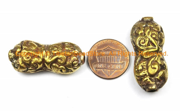 1 BEAD Tibetan Brass Repousse Floral Design Focal Pendant Bead - Ethnic Tribal Large Focal Pendant Bead - B3141-1