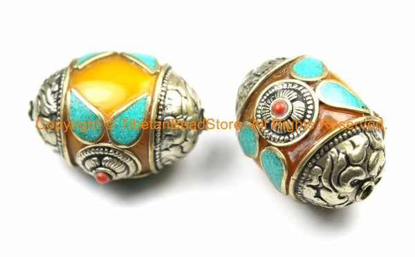 2 BEADS - LARGE Tibetan Amber Copal Resin Beads with Floral Detail Caps, Turquoise, Coral Inlays - LARGE Focal Bead - B3148-2