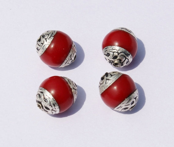 2 Beads - Red Resin Coral Tibetan Beads with Tibetan Silver Caps - Handmade Ethnic Tibetan Beads - B453-2