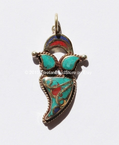 Tibetan Ethnic Charm Pendant with Brass, Turquoise, Coral & Lapis Inlays - Ethnic Nepal Tibetan Chilli Pepper Style Charm  - WM2502