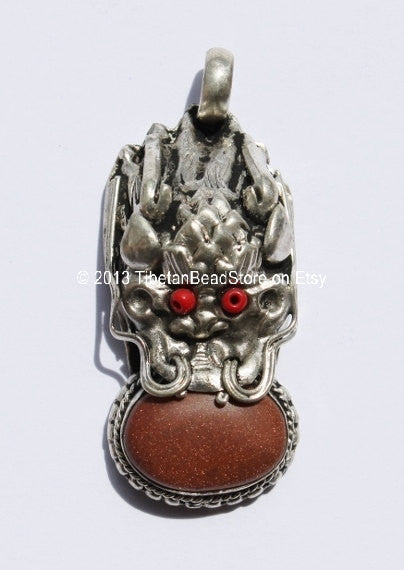 Tibetan Dragon Pendant with Sunstone & Copal Inlay -WM2656