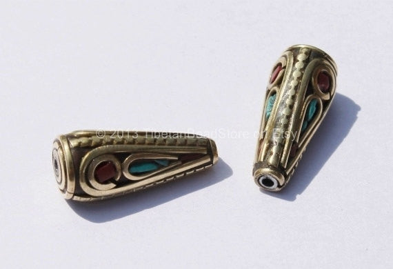 1 Bead - Tibetan Cone Bead with Brass, Turquoise & Copal Coral Inlay - B402-1