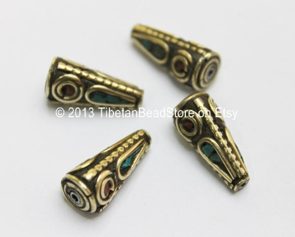 4 beads - Tibetan Cone Beads with Brass, Turquoise & Coral Inlays - Ethnic Tribal Tibetan Brass Inlay Beads - B1610-4