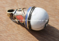 Tibetan Conch Shell Drop Pendant with Thick Brass Cap, Lapis, Coral & Turquoise Inlays - WM3651